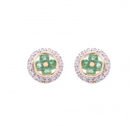 Pendientes de circonitas y esmeraldas en bicolor de 18K