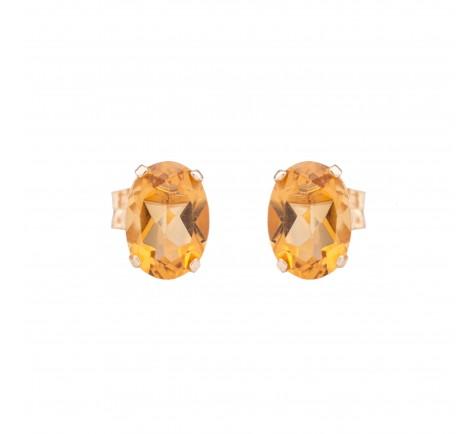 Pendientes con piedra de color citrino en oro amarillo 18K