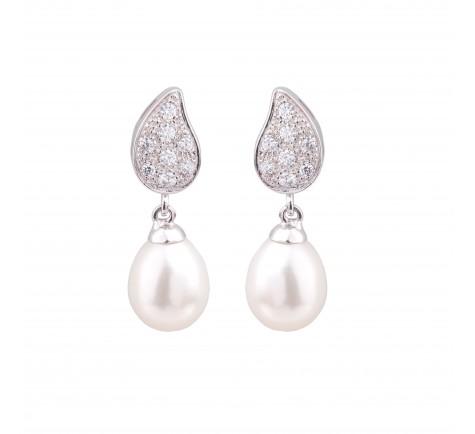 Pendientes de circonitas con perlas cultivadas 18k