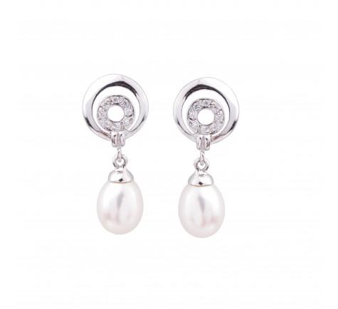 Pendientes de circonitas y perlas cultivadas 18K