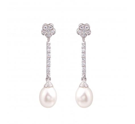 Pendientes de circonitas y perla cultivada en 18K