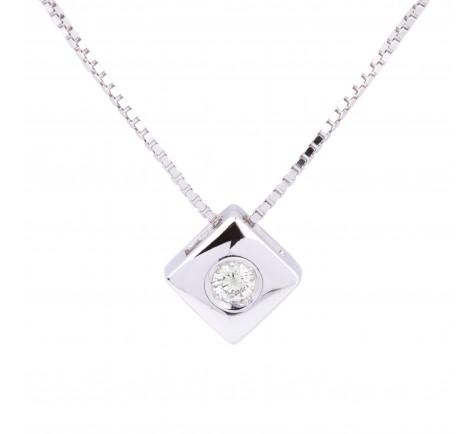 Colgante con cadena en diamante de 0,14 cts en oro de 18K