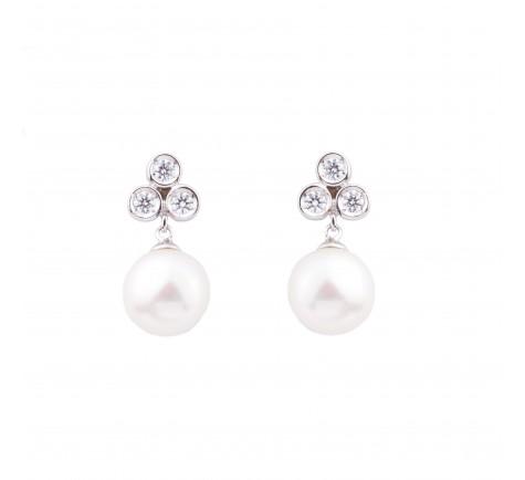 Pendientes para novia de circonitas y perlas en oro 18K