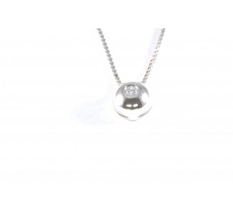 Colgante con cadena en diamante de 0.05 cts en oro de 18K