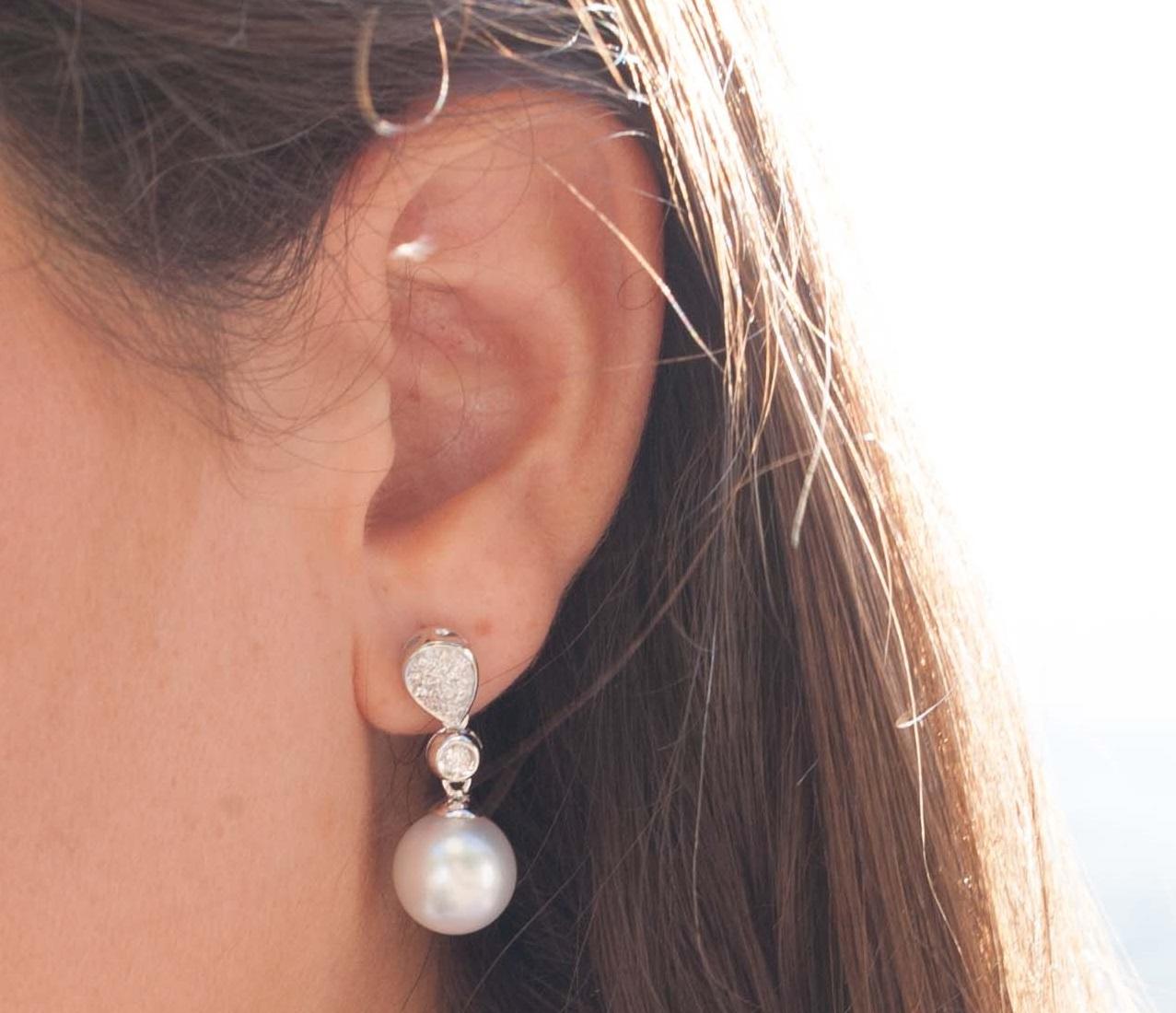 Pendiente diamentes y perla Australiana