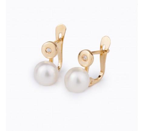 Pendientes de comunión en circonitas y perla de oro de 18K