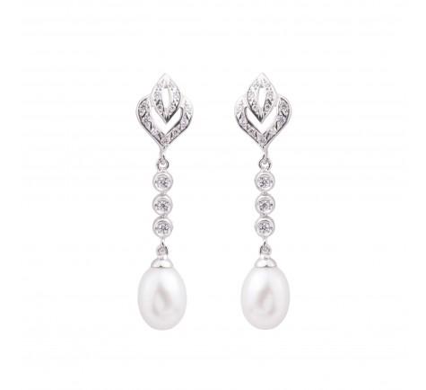 Pendiente para novias de circonitas y perla cultivada en oro de 18K