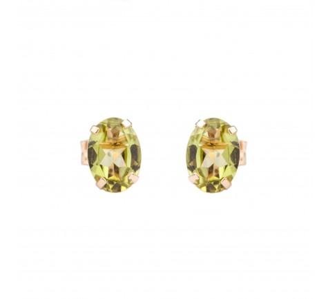 Pendientes con piedra de color Peridoto en oro amarillo 18K