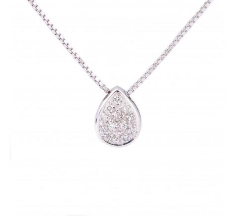 Colgante con cadena en diamantes de 0,13 cts en oro de 18K