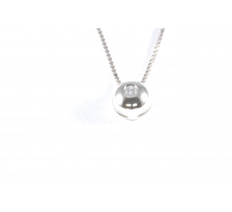 Colgante con cadena en diamante de 0.10 cts en oro de 18K