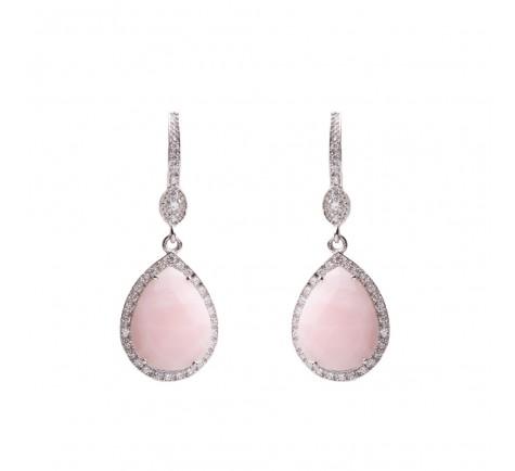 Pendientes de circonitas y Opalo rosa faceteado