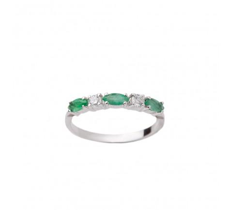 Sortija en diamantes y esmeraldas con 0.14 cts