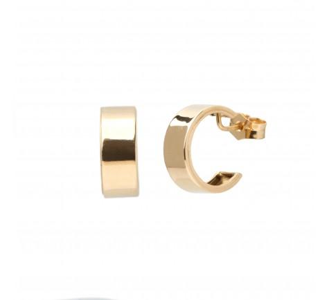 Pendientes de aro con forma plana de oro 18K