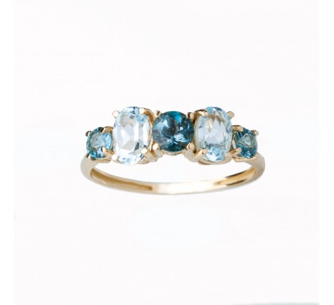 Sortija en London Blue y T. Azul oro amarillo 18 K