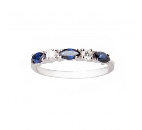 Sortija en diamantes y Zafiro Azul con 0.14 ctes