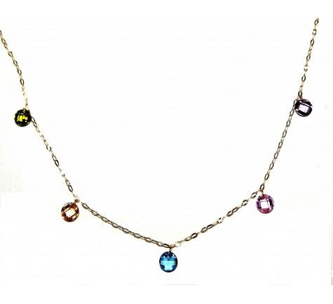 Collar combinado con piedras de color en oro 18K