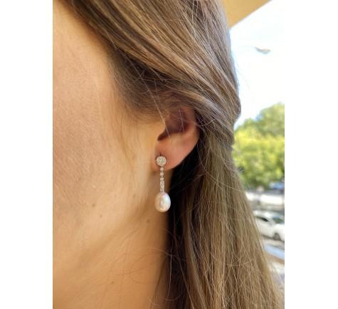 Pendientes de circonitas y perla en oro 18K