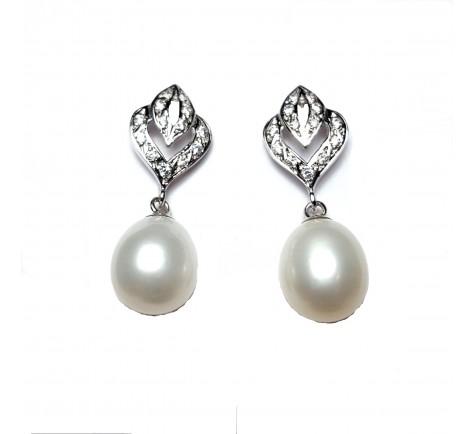 Pendientes de novia en circonitas y perla en oro 18K