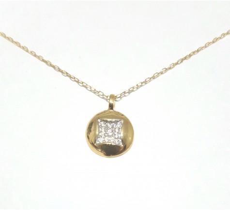 Collar en circonitas en oro bicolor de 18 K