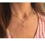 Cruz de circonitas con cadena de 18 K