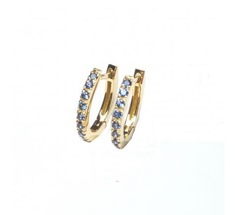 Pendientes con zafiros azules en oro 18K