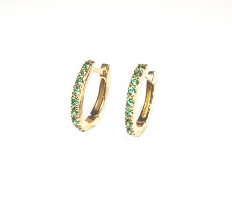 Pendientes con piedra de color esmeralda en oro 18K