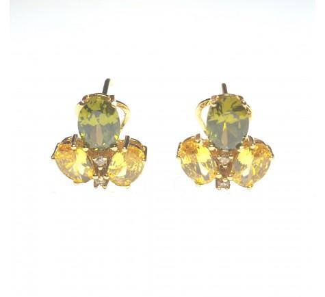 Pendientes de circonitas y piedra de color en oro 18K